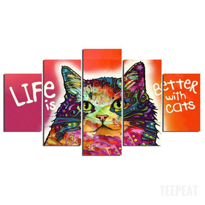Life Is Batter With Cats - 5 Piece Canvas Painting-Canvas-TEEPEAT