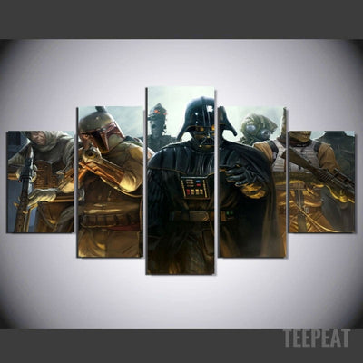 Vader And Bounty Hunters - 5 Piece Canvas Painting-Canvas-TEEPEAT