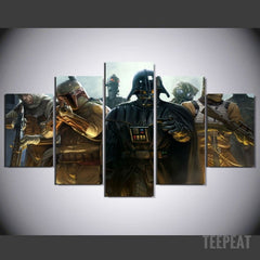 Vader And Bounty Hunters - 5 Piece Canvas Painting