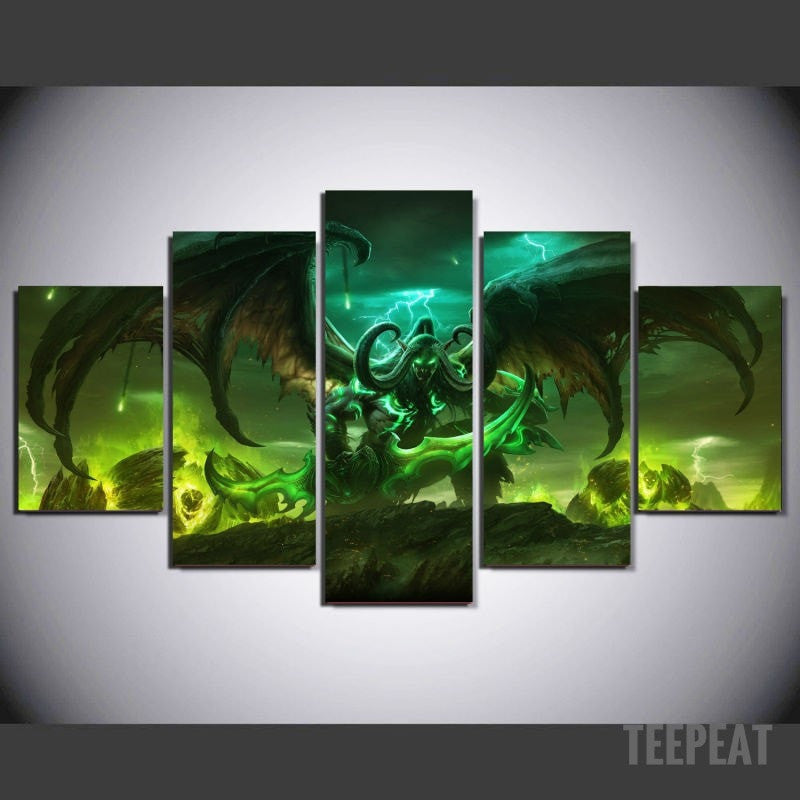 Illidan Painting - 5 Piece Canvas-Canvas-TEEPEAT