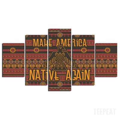 Native America - 5 Piece Canvas Painting-Canvas-TEEPEAT
