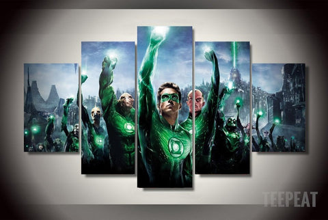The Green Lantern Corps - 5 Piece Canvas Painting-Canvas-TEEPEAT