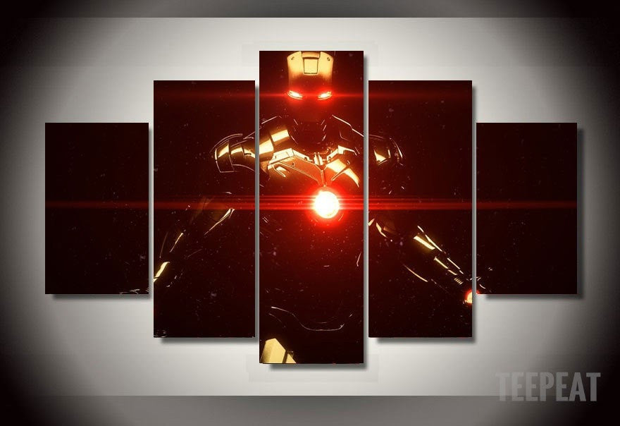Iron Man Painting - 5 Piece Canvas LIMITED EDITION-Canvas-TEEPEAT