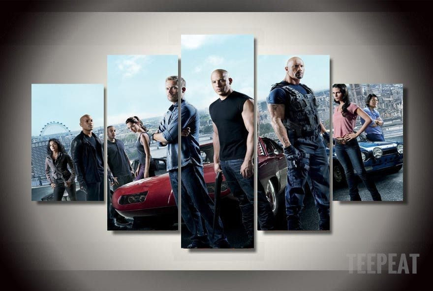 Fast and Furious 7 - Team 5 Piece Canvas LIMITED EDITION - The Nerd Cave