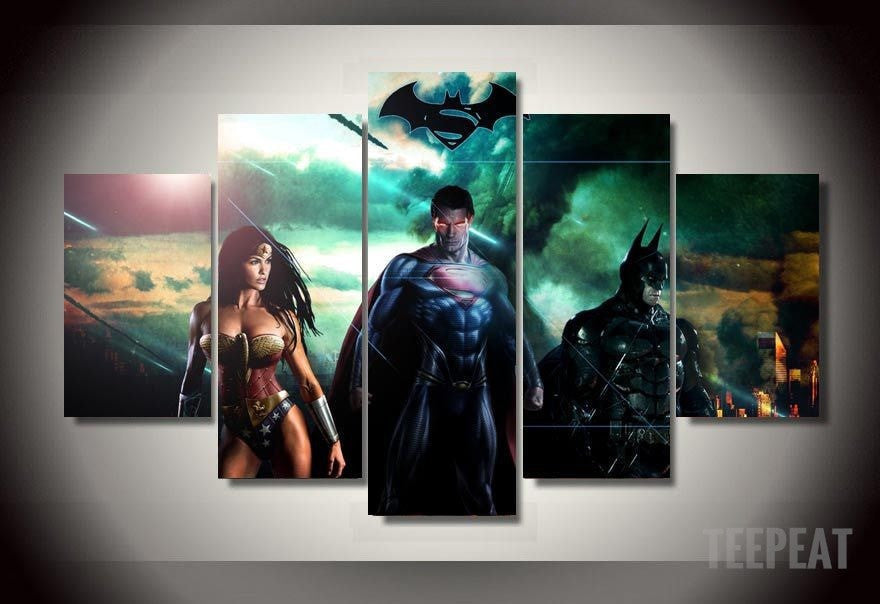 S-man, B-man, Wonder Woman - 5 Piece Canvas LIMITED EDITION - The Nerd Cave