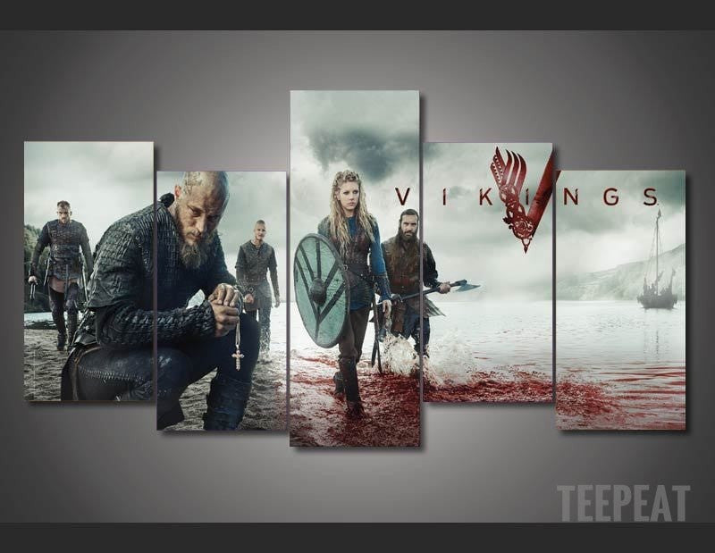 Vikings - Ragnar Lodbrok 5 Piece Canvas LIMITED EDITION - The Nerd Cave