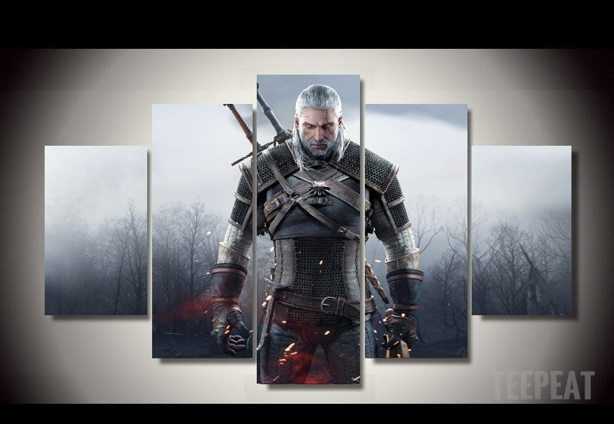 Geralt of Rivia - 5 Piece Canvas LIMITED EDITION - The Nerd Cave