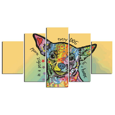 Happy Chihuahua - 5 Piece Canvas Painting-Canvas-TEEPEAT