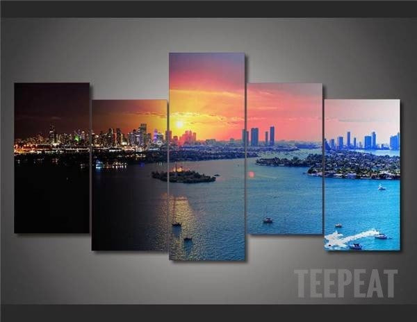 Miami Painting - 5 Piece Canvas-Canvas-TEEPEAT