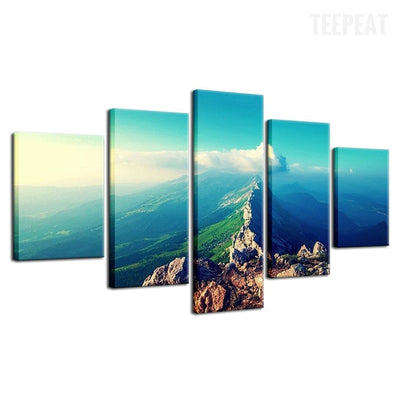 Hilltop Before The Blue Skies  - 5 Piece Canvas