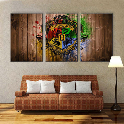 Hogwarts School Logo - 3 Piece Canvas Painting