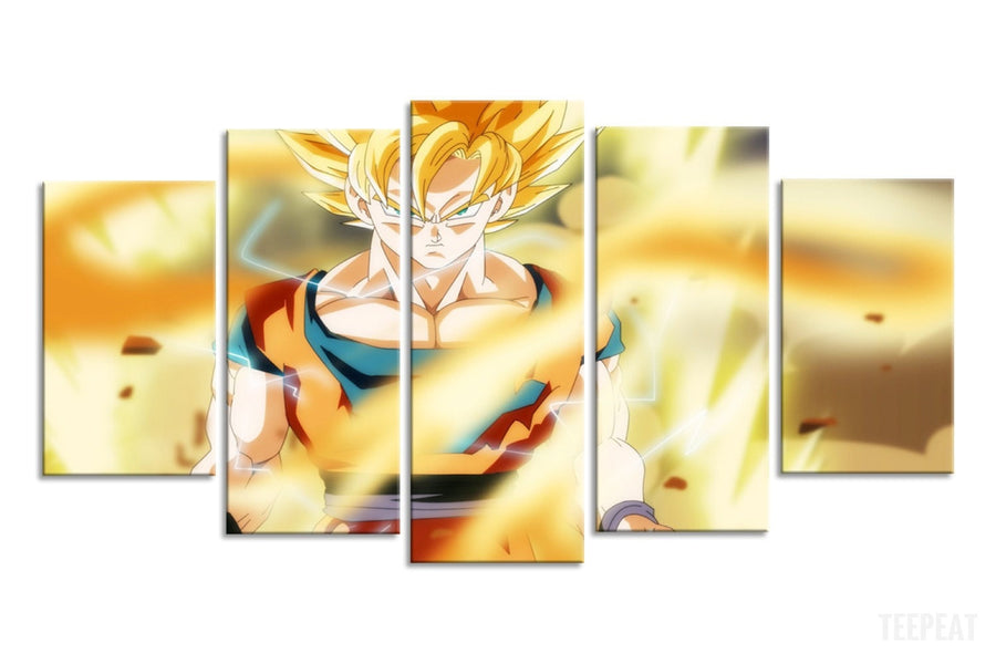 SSJ Fighting - 5 Piece Canvas Painting