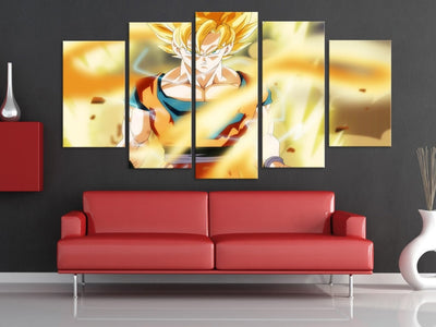 SSJ Fighting - 5 Piece Canvas Painting-Canvas-TEEPEAT