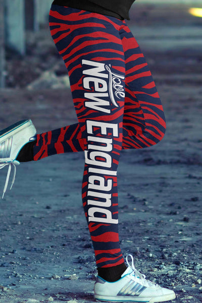 New England Football Striped Leggings