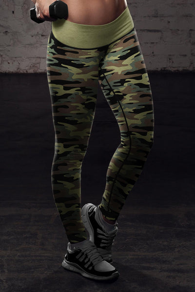 Love Fishing Green Camo Leggings