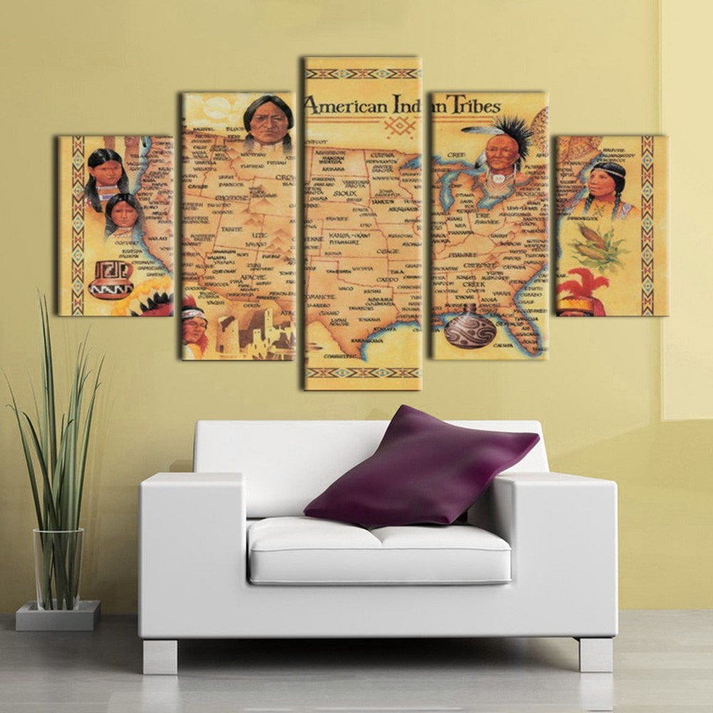 Largest American Indian Tribes Map - 5 Piece Canvas - Empire Prints
