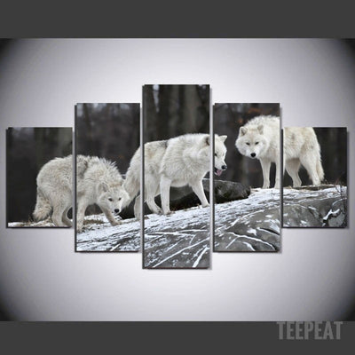 Wolves Painting - 5 Piece Canvas-Canvas-TEEPEAT