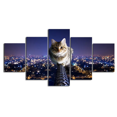 Lovely Little Cat Overlooking City Nights - 5 Piece Canvas
