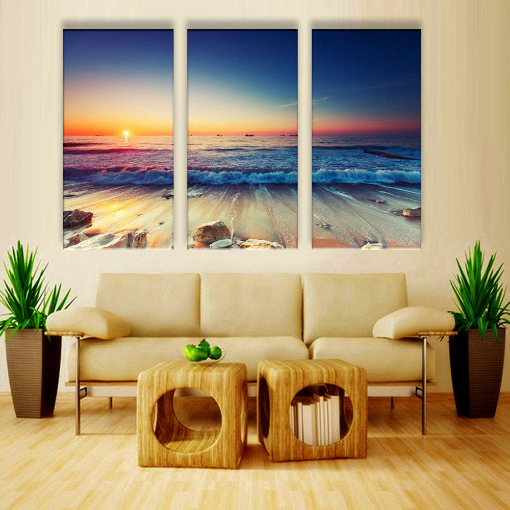 Low Tide Before Sun Down - 3 Piece Canvas Painting - Empire Prints
