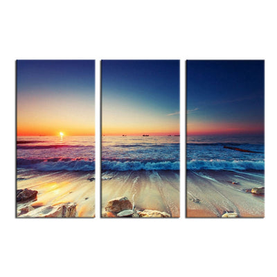 Low Tide Before Sun Down - 3 Piece Canvas Painting