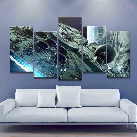 Millennium Falcon - 5 Piece Canvas Painting-Canvas-TEEPEAT
