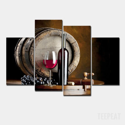 Wine Bottle Painting - 4 Piece Canvas-Canvas-TEEPEAT