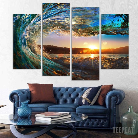 Sea Wave Painting - 4 Piece Canvas-Canvas-TEEPEAT
