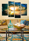 Perfect Wave and Sunset - 4 piece canvas