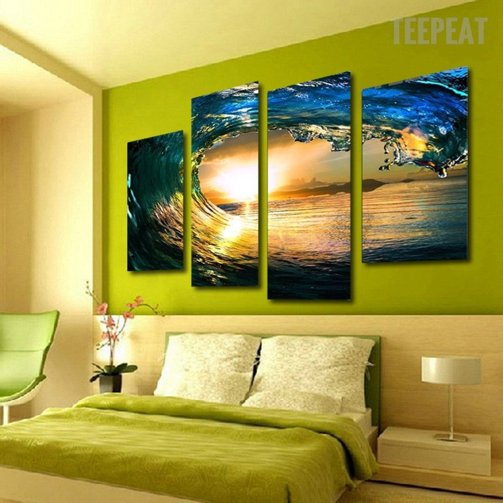 Perfect Wave and Sunset - 4 piece canvas - Empire Prints