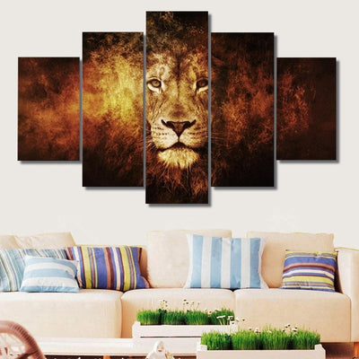 Lion Painting - 5 Piece Canvas