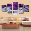 Purple Waterfalls Landscape View - 5 Piece Canvas