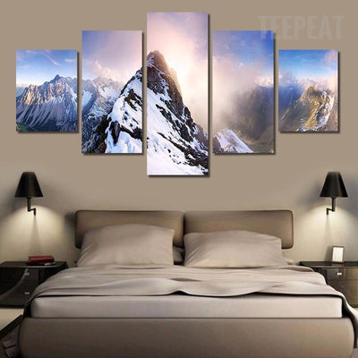 Snowy Mountains Painting - 5 Piece Canvas