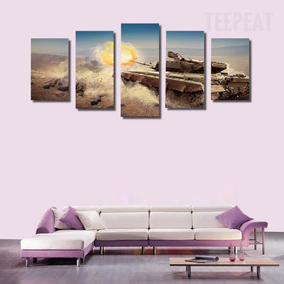Modern Tank On The Dusty Road - 5 Piece Canvas