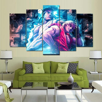 Ryu & Ken - 5 Piece Canvas Painting