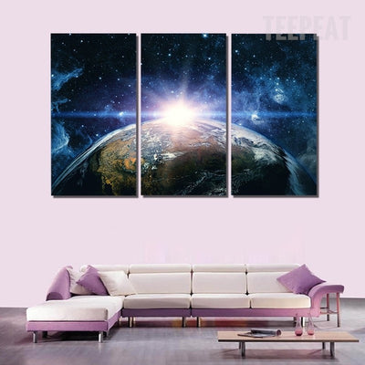 Planet Earth Painting - 3 Piece Canvas