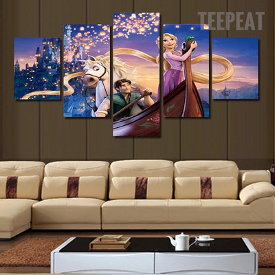 Tangled Rapunzel Flynn - 5 Piece Canvas Painting