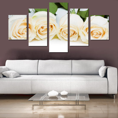 White Rose Flowers Painting - 5 Piece Canvas