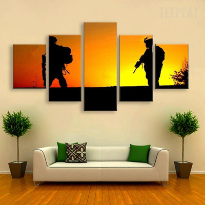 Resting Soldiers Painting - 5 Piece Canvas