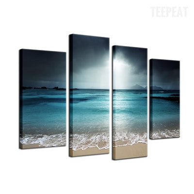 Sea, Beach & Clouds Painting - 4 Piece Canvas