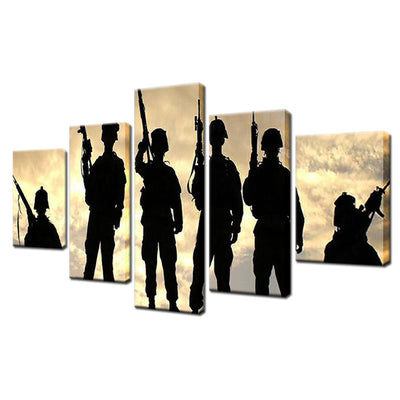 Silhouette of Soldiers Painting - 5 Piece Canvas