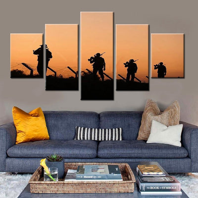 Soldiers At Dusk Painting - 5 Piece Canvas