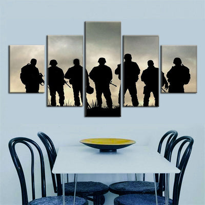 Soldiers Ready For Battle Painting - 5 Piece Canvas