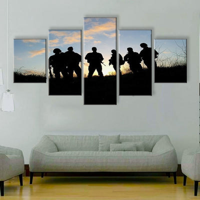 Soldiers Waiting For Orders - 5 Piece Canvas Painting
