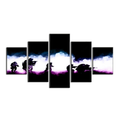 Soldiers in Action Painting - 5 Piece Canvas