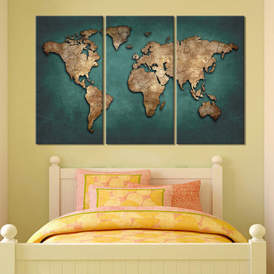 Southeast Asian Countries Map - 3 Piece Canvas