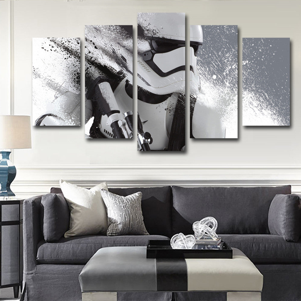 Imperial Stormtrooper Painting - 5 Piece Canvas-Canvas-TEEPEAT & Imperial Stormtrooper Painting - 5 Piece Canvas - Empire Prints