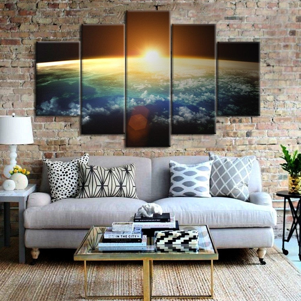 Sun In The Universe Painting - 5 Piece Canvas