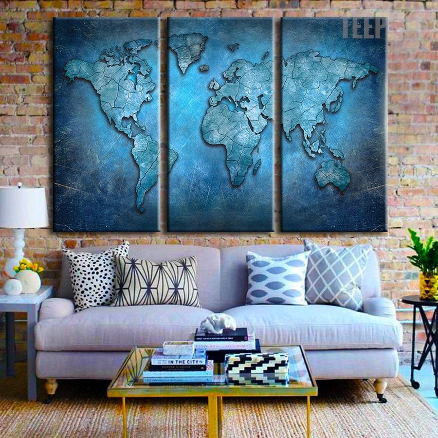 Large World Map Painting 5 Piece Canvas Empire Prints