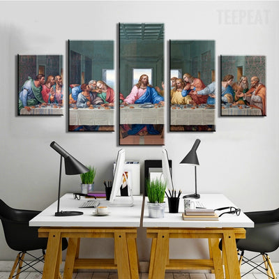 The Last Supper Painting - 5 Piece Canvas