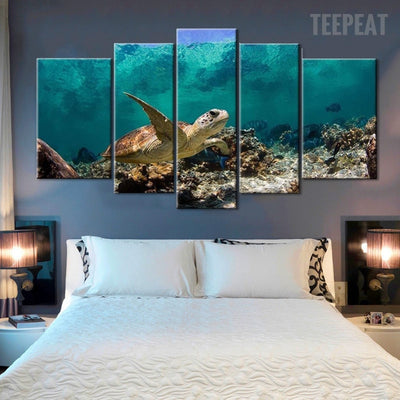 Turtle Under The Deep Blue Sea - 5 Piece Canvas Painting
